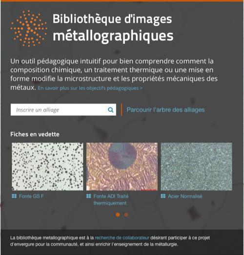 Bibliothèque d'images métallographiques - Accueil