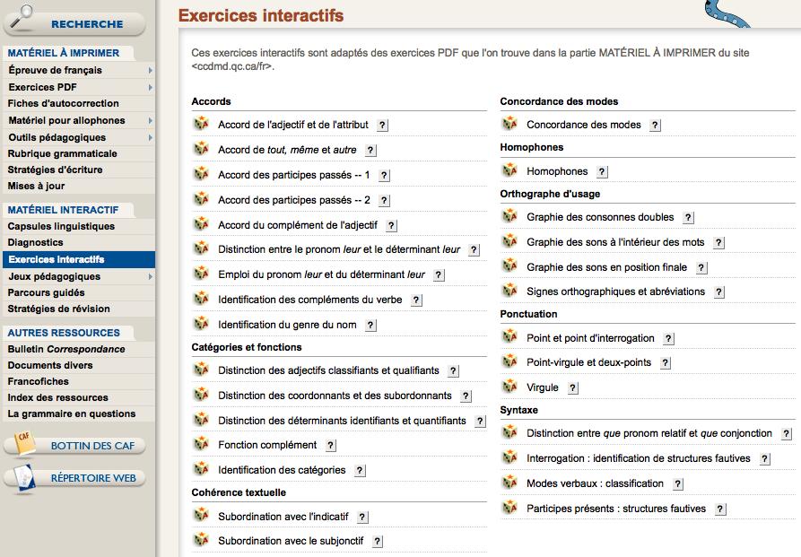 Exercices interactifs | CCDMD