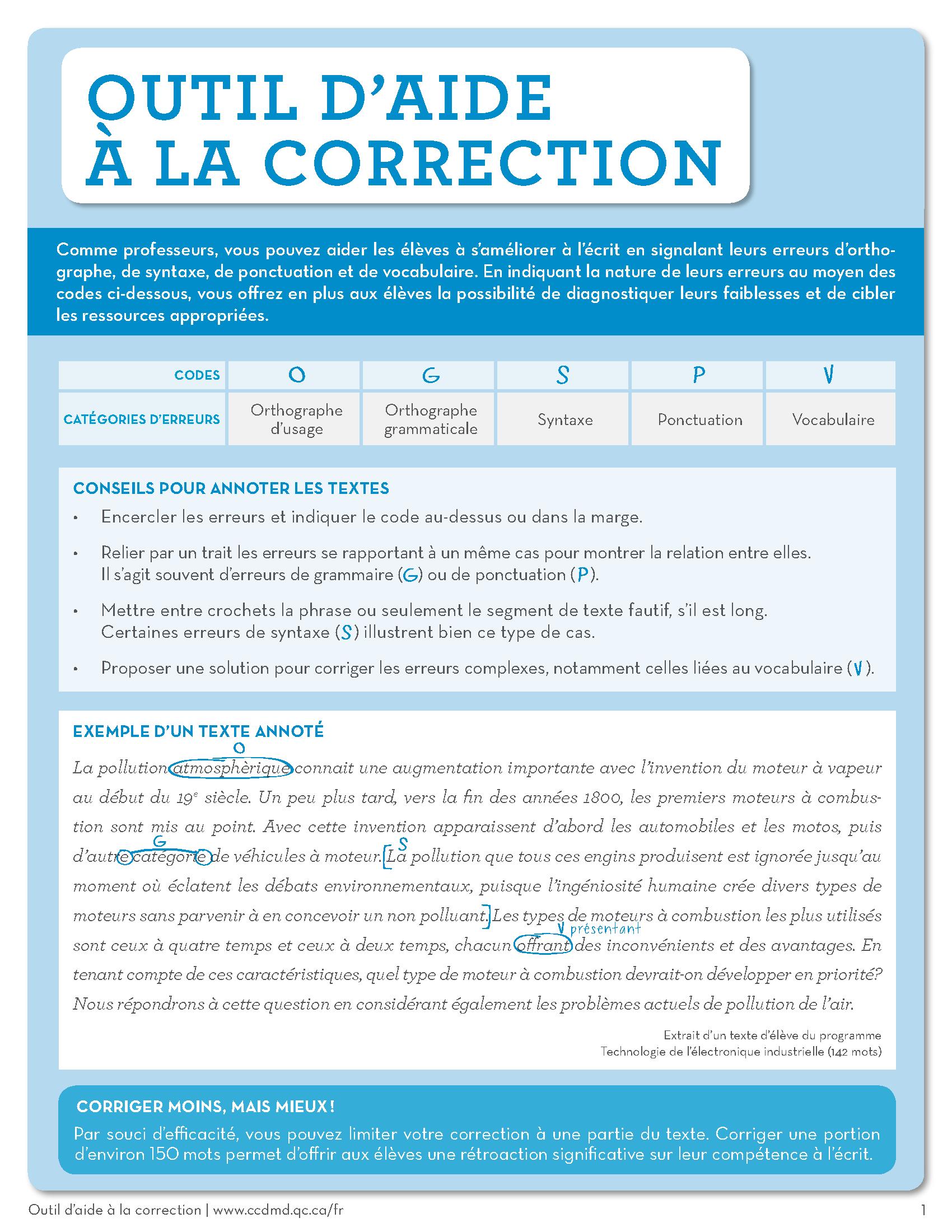 Outil d'aide à la correction